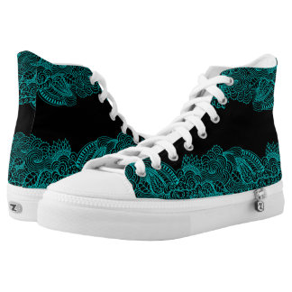 Turquoise Blue Lace On Your Choice of Color Shoes Printed Shoes