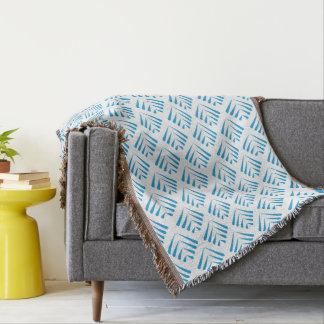 Turquoise blue leaf pattern throw blanket