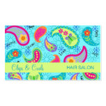 Turquoise Blue Lime Green Modern Paisley Pattern Pack Of Standard Business Cards