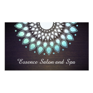Turquoise Blue Lotus Flower on Wood Wellness Spa Pack Of Standard Business Cards