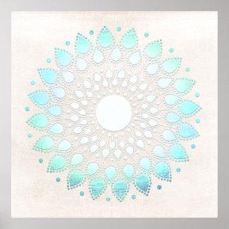 Turquoise Blue Lotus Mandala Art Poster