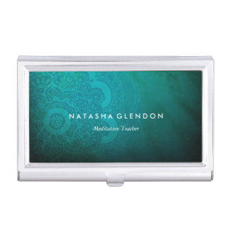Turquoise Blue Mandala Zen Business Card Holder