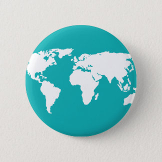 turquoise blue map 6 cm round badge