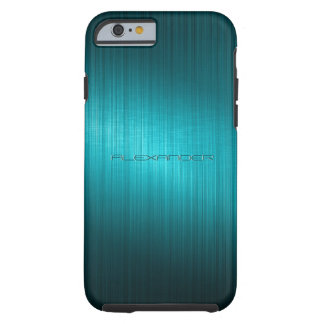 Turquoise-Blue Metal Look Pattern-Monogram Tough iPhone 6 Case