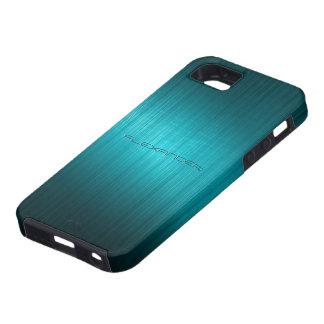 Turquoise-Blue Metal Look Pattern-Monogram Tough iPhone 5 Case