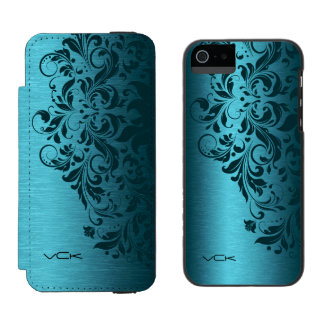 Turquoise Blue Metallic Texture & Dark Red Lace Incipio Watson™ iPhone 5 Wallet Case