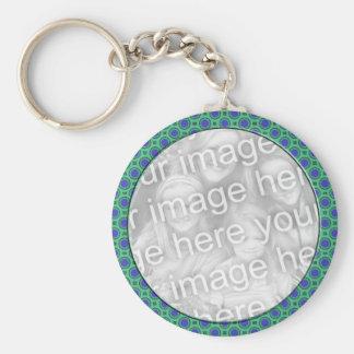 turquoise blue mod dots mod photoframe basic round button key ring