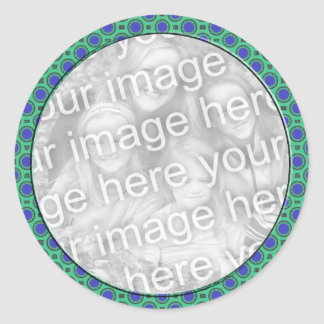 turquoise blue mod dots photo frame round sticker