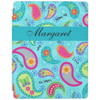 Turquoise Blue Modern Paisley Name Personalized iPad Cover