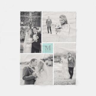 Turquoise Blue Monogram 4 Photo Collage Wedding Fleece Blanket
