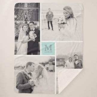 Turquoise Blue Monogram 4 Photo Collage Wedding Sherpa Blanket