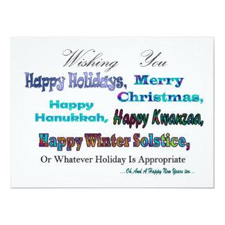 Turquoise Blue Multi Holiday Greeting 17 Cm X 22 Cm Invitation Card