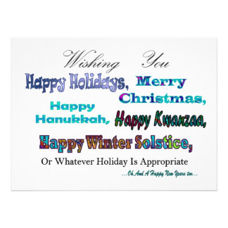 Turquoise Blue Multi Holiday Greeting Invites