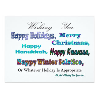 Turquoise Blue Multi Holiday Greeting Invites