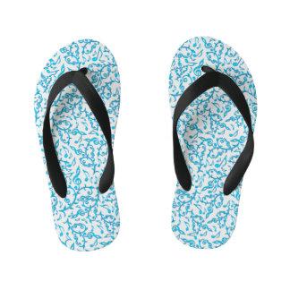 Turquoise Blue Music Notes Pattern Flip Flops Thongs
