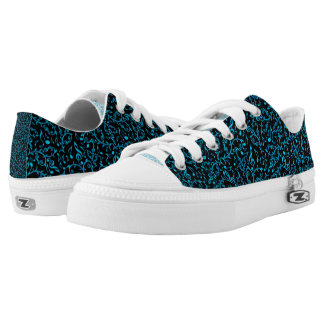 Turquoise Blue Music Notes Printed Shoes