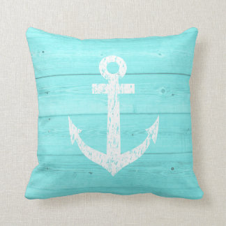 Turquoise blue nautical boat anchor throw pillow