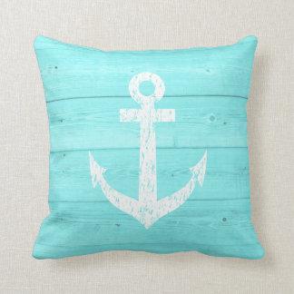 Turquoise blue nautical boat anchor throw pillow throw cushion
