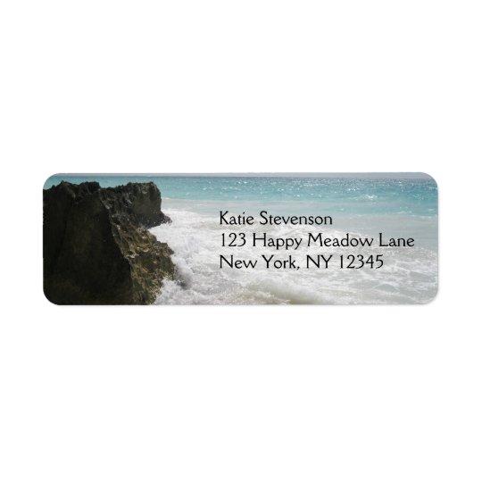 Turquoise Blue Ocean with Foamy Waves Seascape Return Address Label