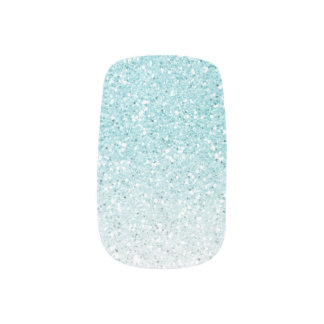 Turquoise Blue Ombre Glam Glitter Minx Nail Art