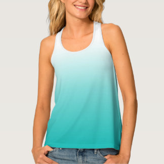 Turquoise Blue Ombre Gradient Color Tank Top