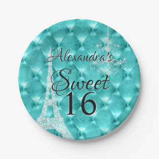 Turquoise Blue Paris Sweet Sixteen Birthday Party Paper Plate