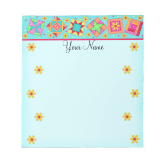 Turquoise Blue Patchwork Quilt Block Art Notepad