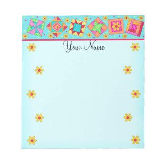 Turquoise Blue Patchwork Quilt Block Art Notepads