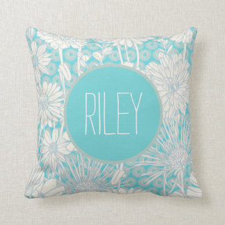 Turquoise Blue Personalized Girl's Floral Pattern Cushion