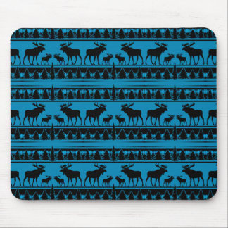 Turquoise blue plaid moose rustic pattern mouse pad