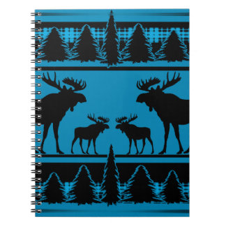 Turquoise blue plaid moose rustic pattern spiral notebook