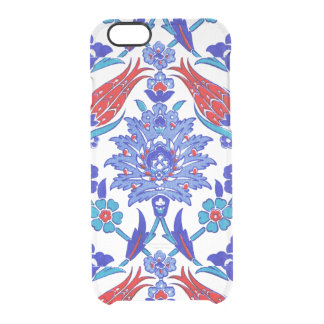 Turquoise Blue Red Ancient Turkish Floral Tile Clear iPhone 6/6S Case