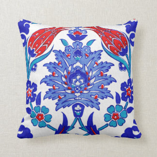 Turquoise Blue Red Ancient Turkish Floral Tile Throw Cushions
