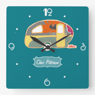Turquoise Blue Retro Vintage Caravan Design Square Wall Clock