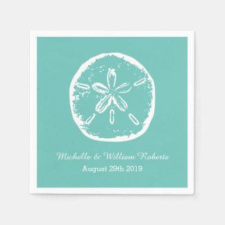 Turquoise blue Sand dollar beach wedding napkins Disposable Napkin