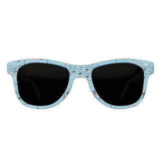 Turquoise Blue Sheet Music & Silver Confetti Sunglasses