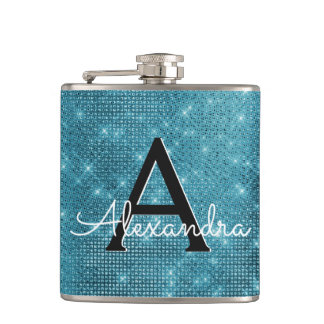 Turquoise Blue Sparkle Monogram & Initial Hip Flask