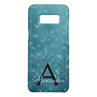 Turquoise Blue Sparkling Stars Monogram Case-Mate Samsung Galaxy S8 Case