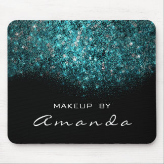 Turquoise Blue Sparkly Glitter Branding Beauty Mouse Pad