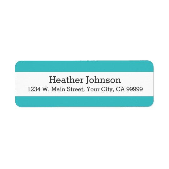 Turquoise Blue Stripes Pattern Modern Return Address Label
