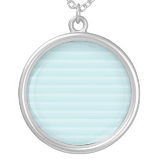 Turquoise Blue Stripes. Round Pendant Necklace