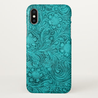 Turquoise-blue suede leather floral pattern case