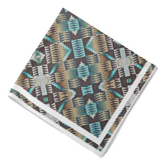 Turquoise Blue Taupe Brown Eclectic Ethnic Look Bandana