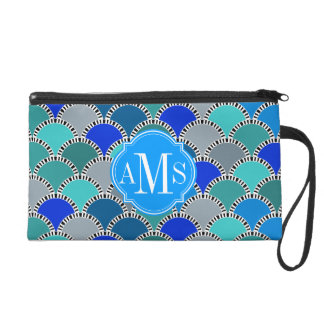 Turquoise Blue Teal Gray Scales Pattern Monogram Wristlet Clutch