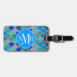 Turquoise Blue Teal Gray Scales Pattern Monogram Luggage Tag