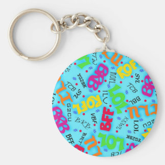 Turquoise Blue Text Art Symbols Colorful Key Ring