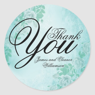 Turquoise Blue Thank You Sticker with White Roses