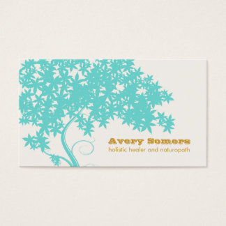 Turquoise Blue Tree Holistic Healer Naturopath Business Card