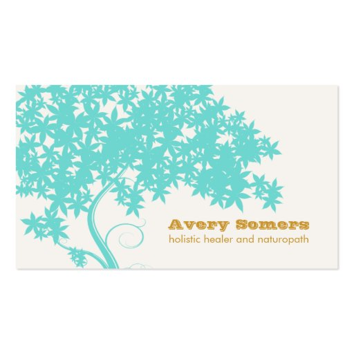 Turquoise Blue Tree Holistic Healer Naturopath Business Card Template