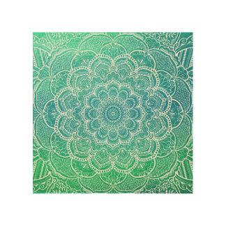 Turquoise Blue Watercolor Mandala Wood Wall Decor